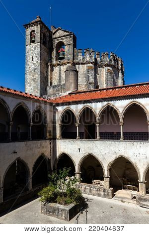 Cloisters of the Tomar's convent, founded by the Order of Poor Knights of the Temple (or Templar Knights) in 1118 in Tomar, Portugal