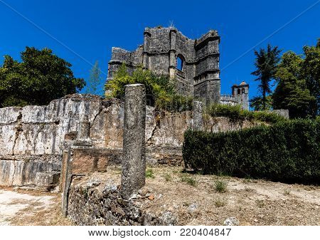 Convent of Christ in Tomar, Portugal. The convent is a historic and cultural monument and a UNESCO World Heritage site.