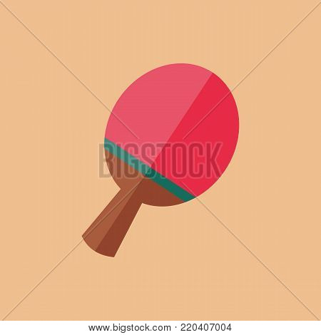 Simple Flat Style Ping Pong Racket Bat Sport Vector Illustration Graphic Design