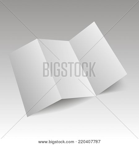 Blank Trifold white template paper with soft shadows. Vector.