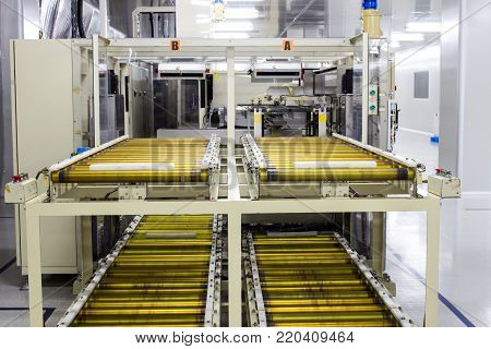 The conveyor chain, and conveyor belt on production line in clean room.