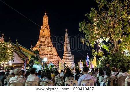 BANGKOK THAILAND - DECEMBER 31 :Thai people and monk join moral pray countdown to 2018 in Wat Arun temple and many temples all over country On December 31, 2017 in Bangkok, Thailand.