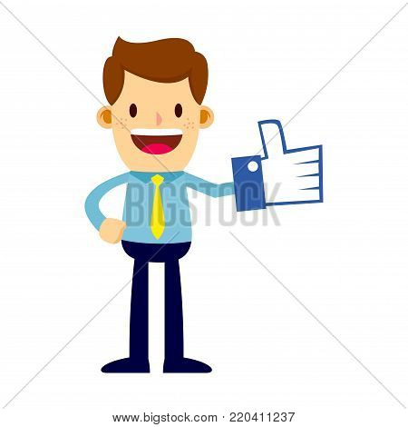 Vector stock of a happy businessman with thumbs up or like foam hand