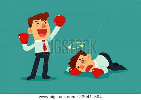 Businessman in boxing gloves won the fight against another businessman. Business competition concept.