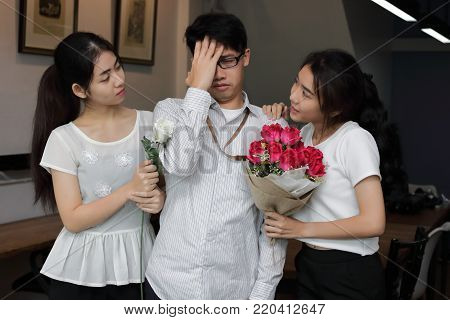Complicated stressed relationship between three people. Love triangle concept.
