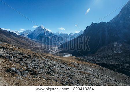 Amazing mountains on Himalayas around Nepal with blue sky.