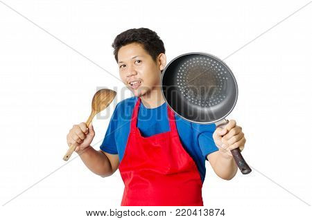Portrait of Asian man ready for cooking isolated on white background
