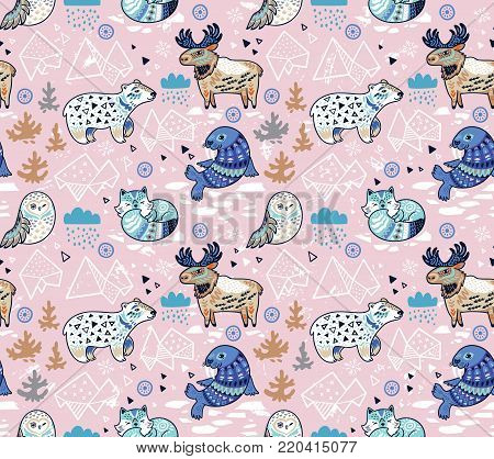 Polar animals seamless pattern in blue and pink colors. Antarctica polar wild life decorative background. Vector illustration.