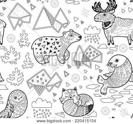 Polar animals seamless pattern in contour. Antarctica polar wild life decorative background in ink style. Vector illustration.
