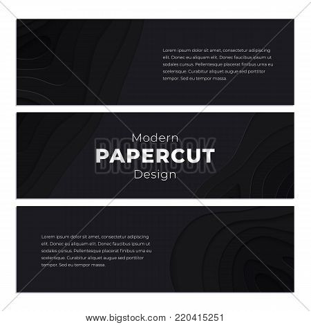 Black paper cut background. Abstract realistic papercut decoration textured with wavy layers. 3d topography relief. Carving art. Vector illustration. Cover layout template. Material design concept