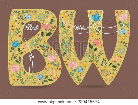 Best Wishes. Yellow letters with folk floral decor - B and W. White pearl collars and texts as pendants. Watercolor colorful flowers, plants and hearts. Brown background. Illustration