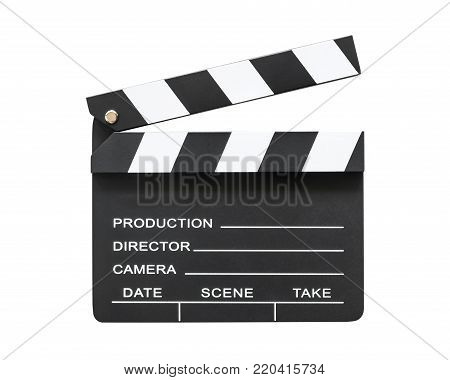 Film slate board or cinema clapperboard with take, action, scence blank copyspace isolated on white background with clipping path for cinema movie production and video camera director