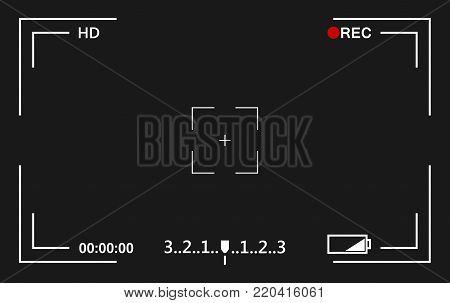 Camera view viewing images. Visual screen focusing. Video recording screen.