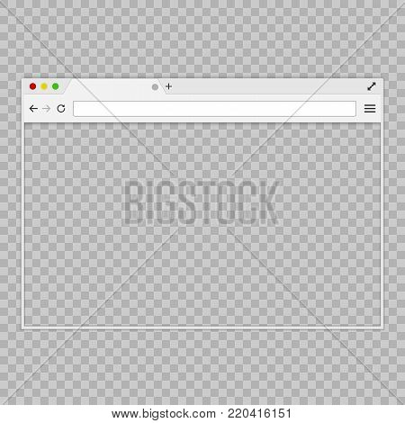 Browser or web browser in flat style on an empty background.