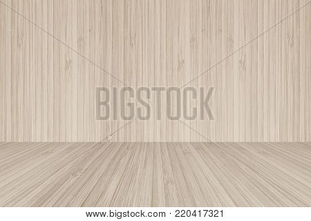 wood floor perspective view on wooden texture wall in light sepia brown color background for sauna wood r35 perspective