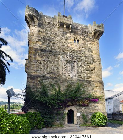 Pontedeume, Galicia / Spain. July 29, 2017. Ancient medieval stone tower in very good condition, part of the castle of the family