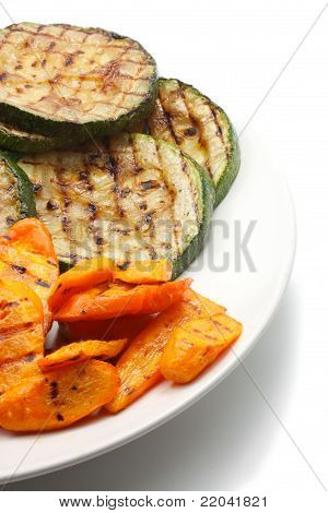 Grilled Carrot And Zucchini On ? Plate