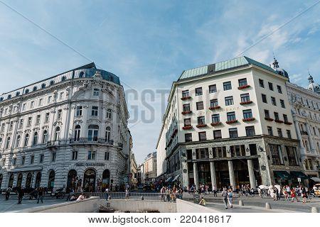 Vienna,  Austria - August 16, 2017: Michaelerplatz in Vienna with Looshaus designed by Adolf Loos on background