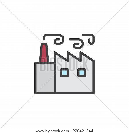 Factory building with chimneys filled outline icon, line vector sign, linear colorful pictogram isolated on white. Industrial production symbol, logo illustration. Pixel perfect vector graphics