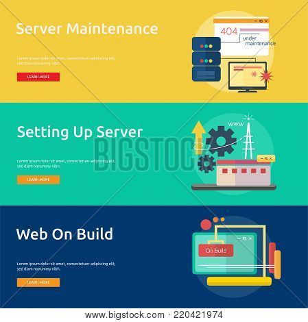 Web Maintenance | Set of great flat banner design illustration concepts for web, maintenance, internet, network and much more.