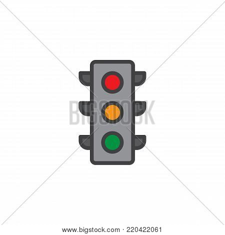 Traffic light signal filled outline icon, line vector sign, linear colorful pictogram isolated on white. Symbol, logo illustration. Pixel perfect vector graphics