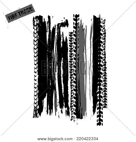 Tire Tracks Print Texture. Off-road Grunge Background. Graphic Vector Illustration. Editable Image I