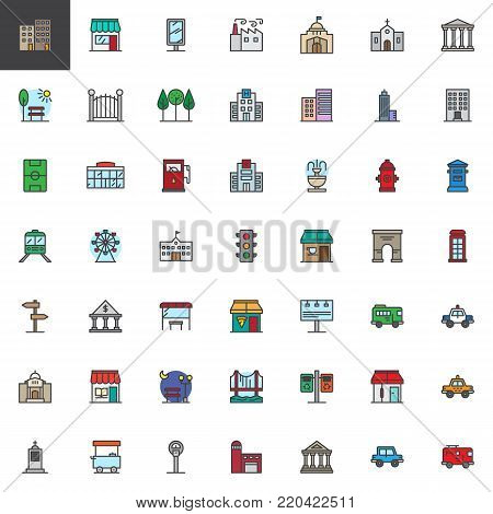 City buildings and transportation filled outline icons set, line vector symbol collection, linear colorful pictogram pack. Signs, logo illustration, Set includes icons as hospital, hotel, factory
