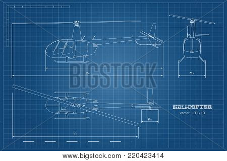 Blueprint of helicopter. Top, front and side view. Detailed image of business vehicle.  Industrial isolated drawing. Copter in outline style. Vector illustration