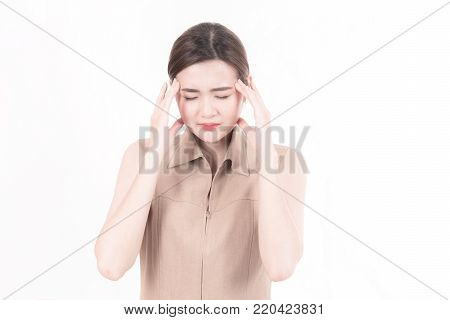Chinese Ypung Woman With Major Headache Isolated In White.