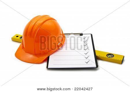 Helmet and checklist