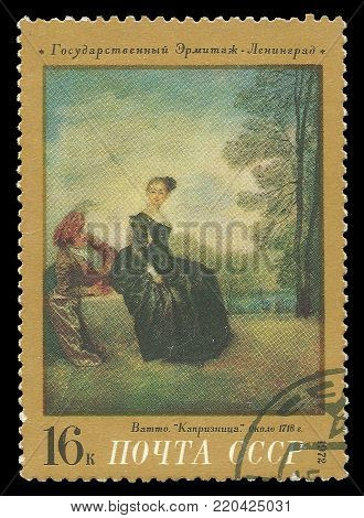 USSR - circa 1972: Stamp printed by USSR, Color edition on art, shows painting La Boudeuse by Jean-Antoine Watteau, circa 1972