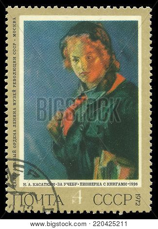 USSR - circa 1972: Stamp printed by USSR, Color edition on art, shows painting Pionier Girl by Kasatkin, circa 1972