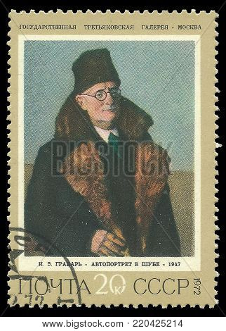 USSR - circa 1972: Stamp printed by USSR, Color edition on art, shows painting Self-portrait in Fur Coat by Grabar, circa 1972