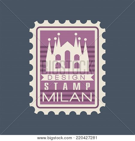 Original rectangular postmark with Milan Cathedral. Sign with Italian monument. Symbol with historical building. World famous landmark. Vector illustration in flat style isolated on blue background.