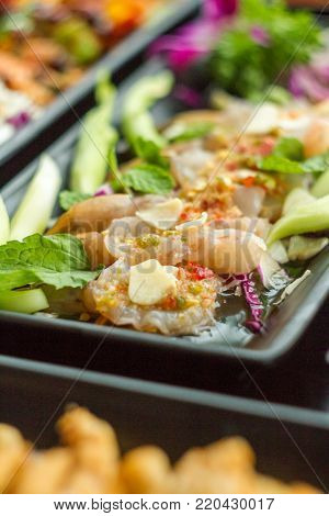 Spicy salad shrimp in fish sauce. The food of Thailand.