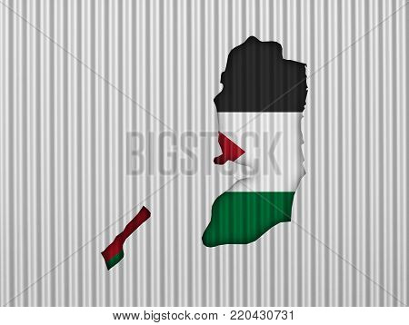Colorful and crisp image of map and flag of Palestine on corrugated iron