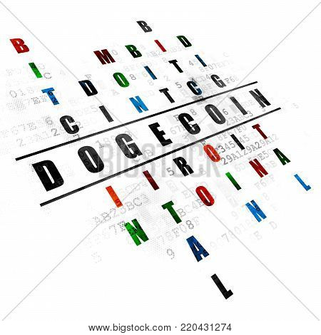 Blockchain concept: Pixelated black word Dogecoin in solving Crossword Puzzle on Digital background