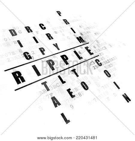 Cryptocurrency concept: Pixelated black word Ripple in solving Crossword Puzzle on Digital background