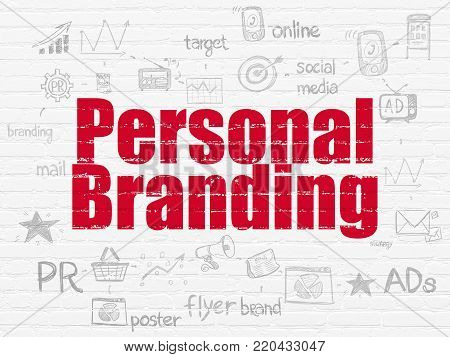 Advertising concept: Painted red text Personal Branding on White Brick wall background with Scheme Of Hand Drawn Marketing Icons