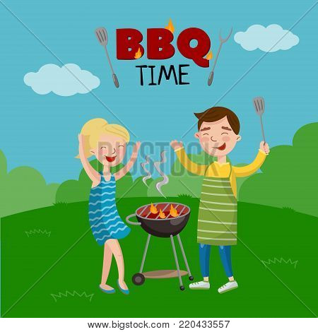 BBQ time banner, cartoon style poster with people on the lawn cooking barbecue, vector Illustration with flaming BBQ grill