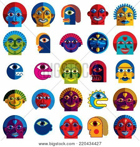Set of vector bizarre creatures, modern art colorful drawings of imaginative beings. Fantastic odd characters can be used as user avatar icon or in graphic design.