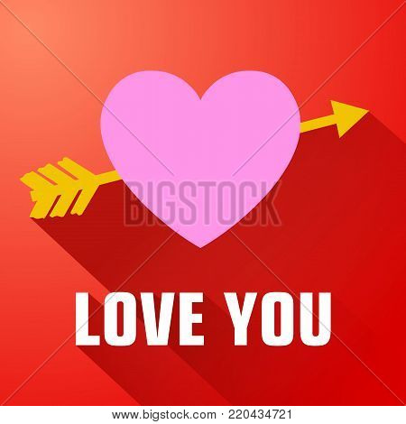 Romantic flat template with love confession pink heart pierced by yellow arrow on red background vector illustration