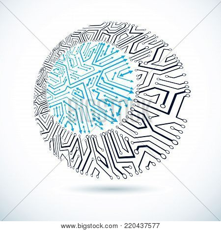 Vector round circuit board with electronic components of technology device. Computer motherboard cybernetic abstraction.