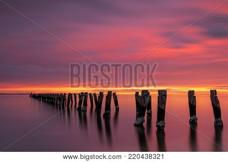 Jetty Ruins at Clifton Springs on the Bellarine Peninsulam Victoria