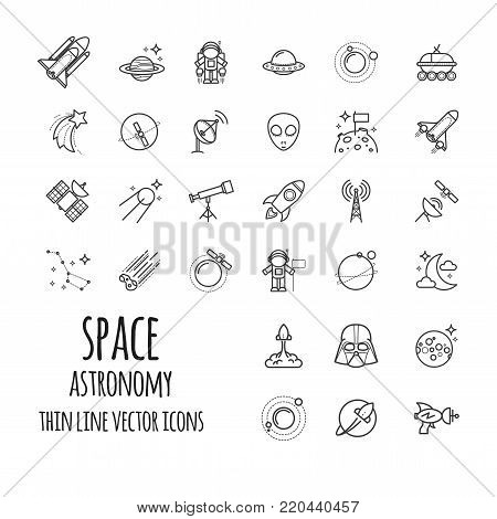 Space, Astronomy Outline Icons set for your design