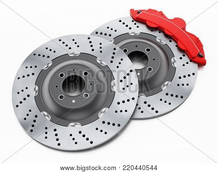 Auto spare parts standing on black background. 3D illustration