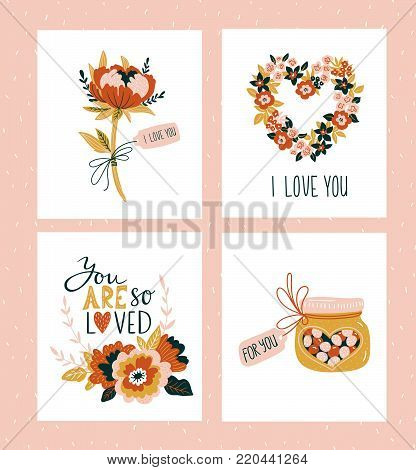 Vector illustration. Valentines day greeting cards templates with love lettering, hearts, flowers , candies and plant wreath. Romantic backgrounds.