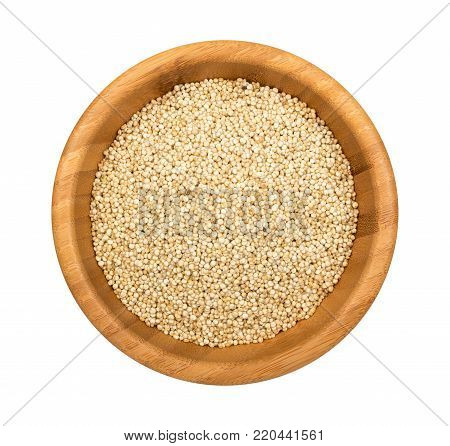 Quinoa In A Wooden Bowl Isolated