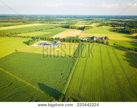 Aerial photograph of the countryside and farmland outside of Eindhoven, Noord Brabant region of the Netherlands.
