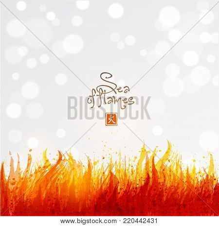 Flame on white background. Place for your text. Vector illustration of fire.